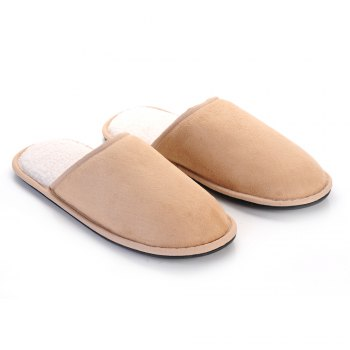Men Mirco Fabric House Slippers Lining TPR Outsole - CAPPUCCINO 43