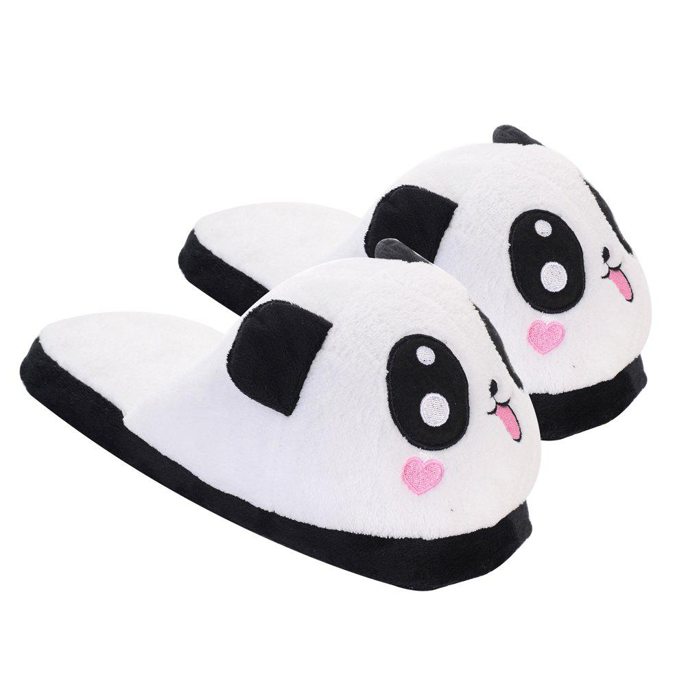 Cute Panda Home Slippers Winter Coral Velvet Upper Anti-skip Outsole - BLACK WHITE ONE SIZE(35-39)