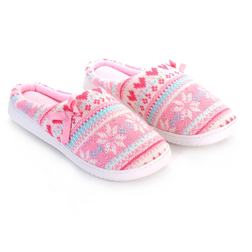 Ladies Cashmere Cotton Knitted Anti-slip House Slippers - PINK/WHITE ONE SIZE(35-40)