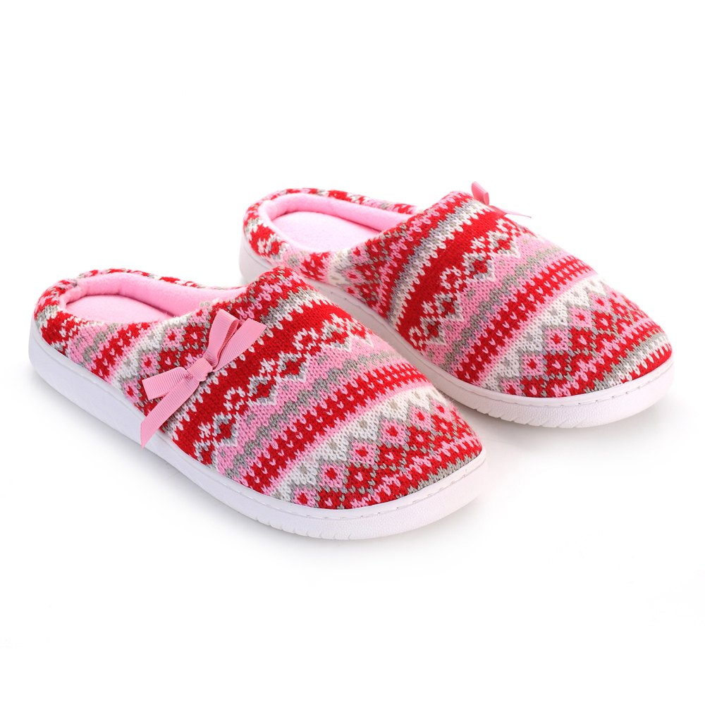 Ladies Cashmere Cotton Knitted Anti-slip House Slippers - RED/PINK ONE SIZE(35-40)