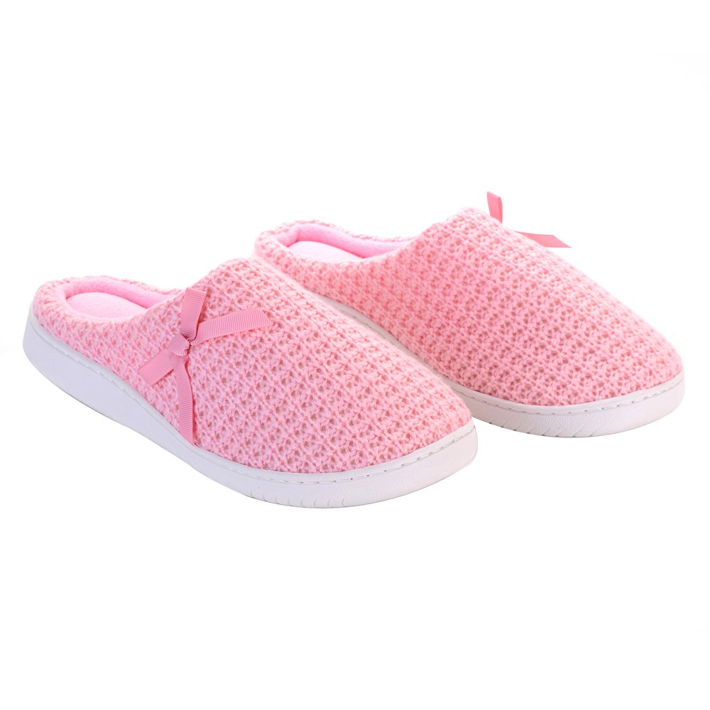 Ladies Cashmere Cotton Knitted Anti-slip House Slippers - PINKBEIGE ONE SIZE(35-40)