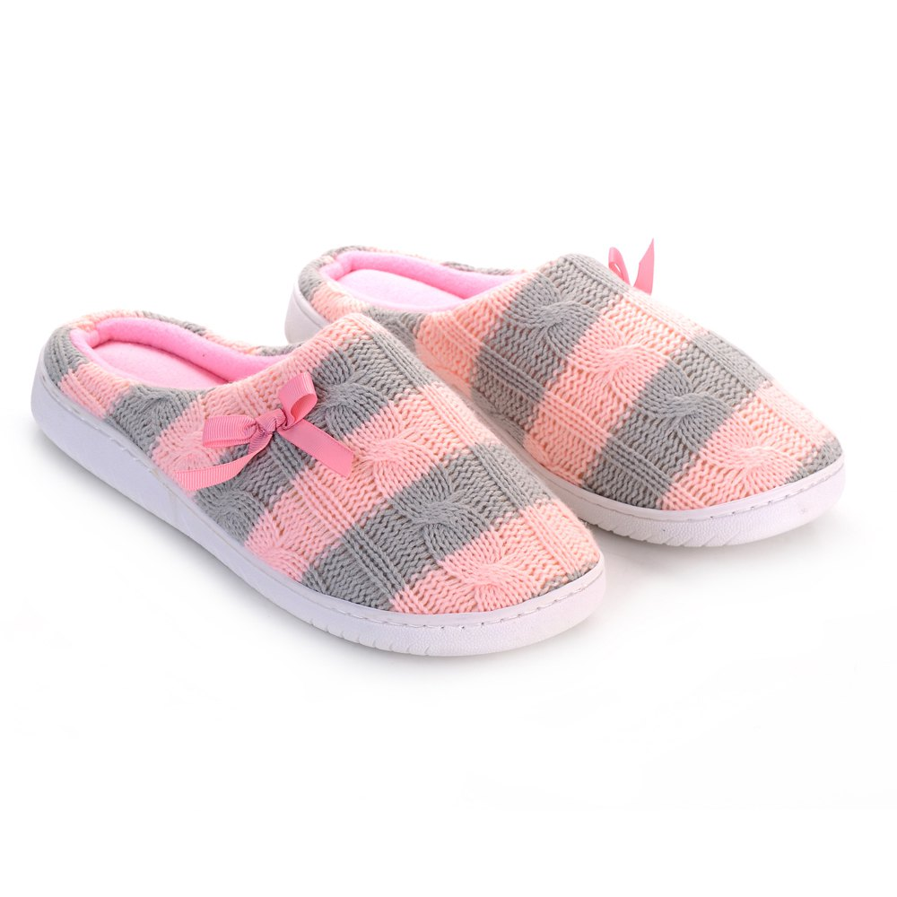 Ladies Cashmere Cotton Knitted Anti-slip House Slippers - PINK / GRAY ONE SIZE(35-40)