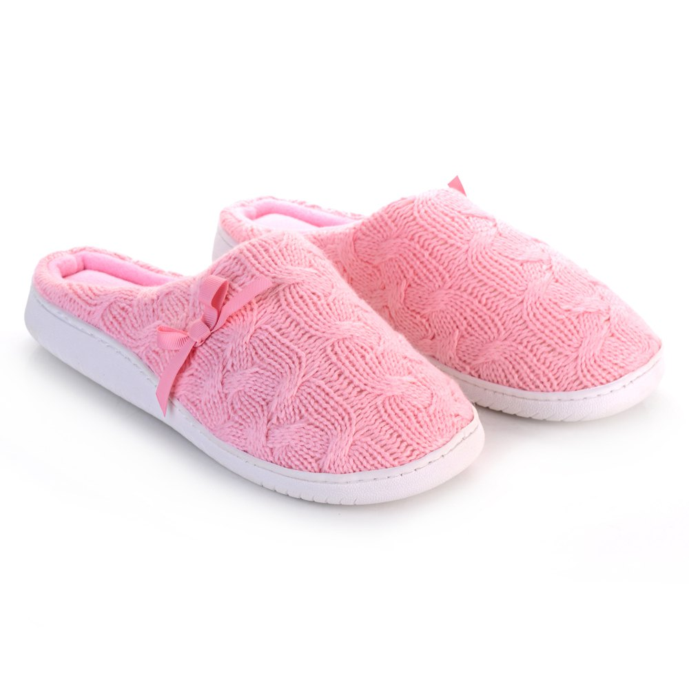 Ladies Cashmere Cotton Knitted Anti-slip House Slippers - PINK ONE SIZE(35-40)