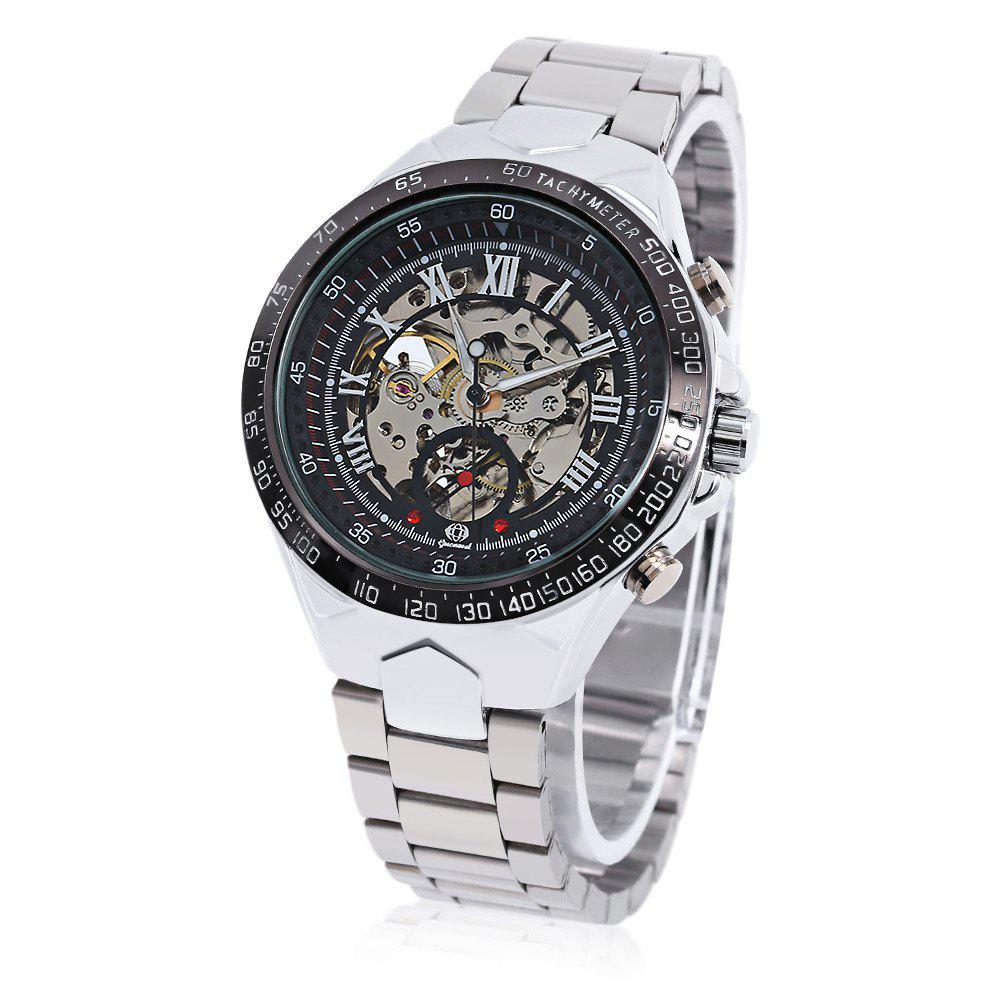 Gucamel G055 Men Auto Mechanical Watch Luminous Hollow Dial Stainless Steel Band Wristwatch - STEEL BAND/SILVER DISPLAY/BLACK DIAL