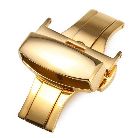 12mm Stainless Steel Butterfly Buckle Double Push Automatic Strap Clasp Polished for Watch Band - GOLDEN 12MM
