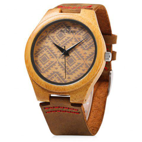 REDEAR SJ 1448 - 6 Wooden Female Quartz Watch Special Pattern Dial Leather Strap Wristwatch - BROWN
