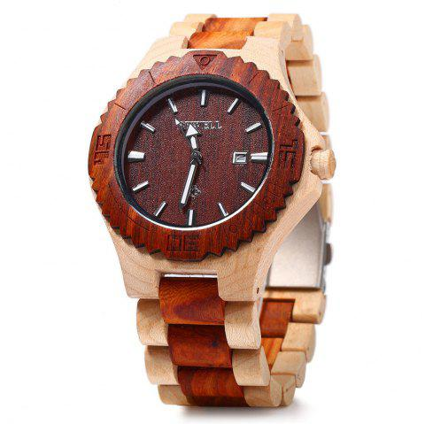 Bewell ZS-W023B Wooden Quartz Watch for Men Date Display Luminous Pointers - MAPLE/RED SANDALWOOD