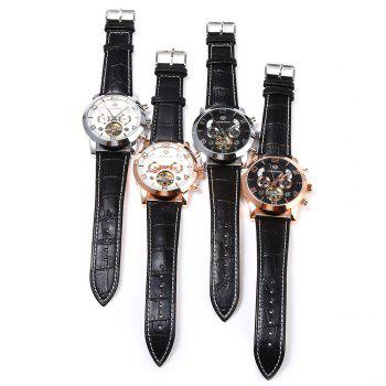 Forsining A165 Men Tourbillon Automatic Mechanical Watch Leather Strap Date Week Month Year Display - BLACK/GOLDEN
