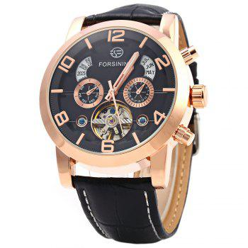 Forsining A165 Men Tourbillon Automatic Mechanical Watch Leather Strap Date Week Month Year Display - BLACK AND GOLDEN BLACK/GOLDEN