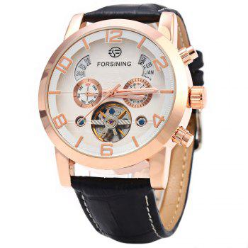 Forsining A165 Men Tourbillon Automatic Mechanical Watch Leather Strap Date Week Month Year Display - BLACK AND ROSE GOLD BLACK/ROSE GOLD