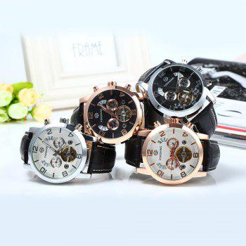 Forsining A165 Men Tourbillon Automatic Mechanical Watch Leather Strap Date Week Month Year Display -  BLACK/ROSE GOLD