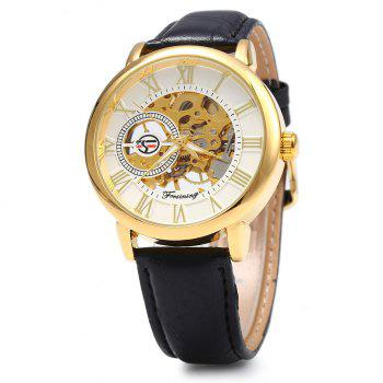 Forsining Men Auto Mechanical Leather Wrist Watch - WHITE AND GOLDEN WHITE/GOLDEN