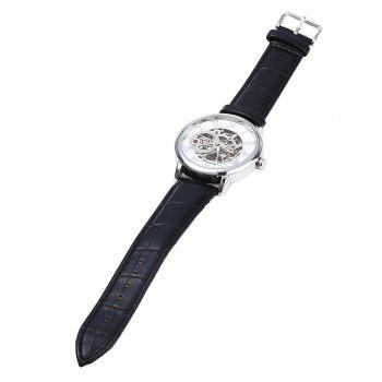 Forsining Men Auto Mechanical Leather Wrist Watch -  WHITE/GOLDEN