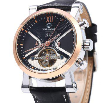 Forsining Male Tourbillon Auto Mechanical Watch Leather Strap with Date Display -  BLACK/GOLDEN