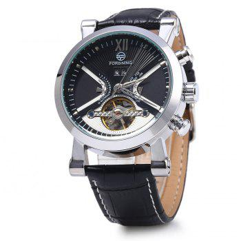 Forsining Male Tourbillon Auto Mechanical Watch Leather Strap with Date Display - SILVER AND BLACK SILVER/BLACK