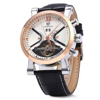 Forsining Male Tourbillon Auto Mechanical Watch Leather Strap with Date Display - WHITE AND GOLDEN WHITE/GOLDEN