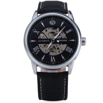 Forsining A694 Men Hollow Automatic Mechanical Watch Leather Strap - BLACK