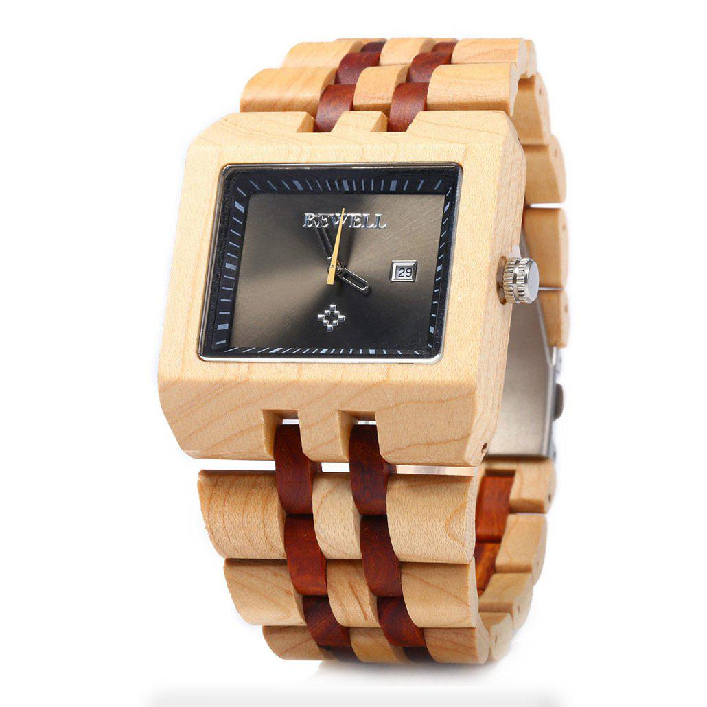 Bewell ZS - W017A Quartz Men Watch Wooden Band Analog Date Display - MAPLE/RED SANDALWOOD