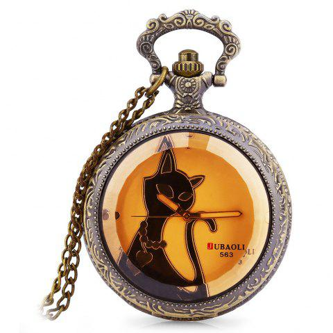 JUBAOLI 563 - 1 Retro Pocket Quartz Watch Cat Pattern Dial Luminous Pointer Necklace Wristwatch - WHITE