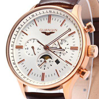GUANQIN Men Leather Quartz Watch with Calendar Display Moving Three Sub-dials -  BROWN GOLDEN WHITE