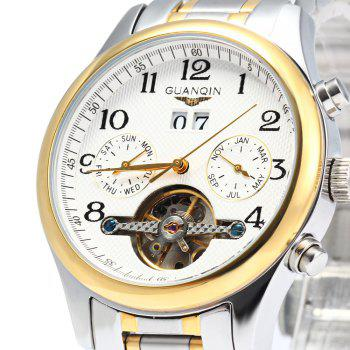 GUANQIN Men Calendar Tourbillon Automatic Mechanical Watch with Leather Band 3ATM Water Resistant Two Working Sub-dials -  GOLDEN WHITE