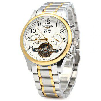 GUANQIN Men Calendar Tourbillon Automatic Mechanical Watch with Leather Band 3ATM Water Resistant Two Working Sub-dials - GOLDEN WHITE GOLDEN WHITE