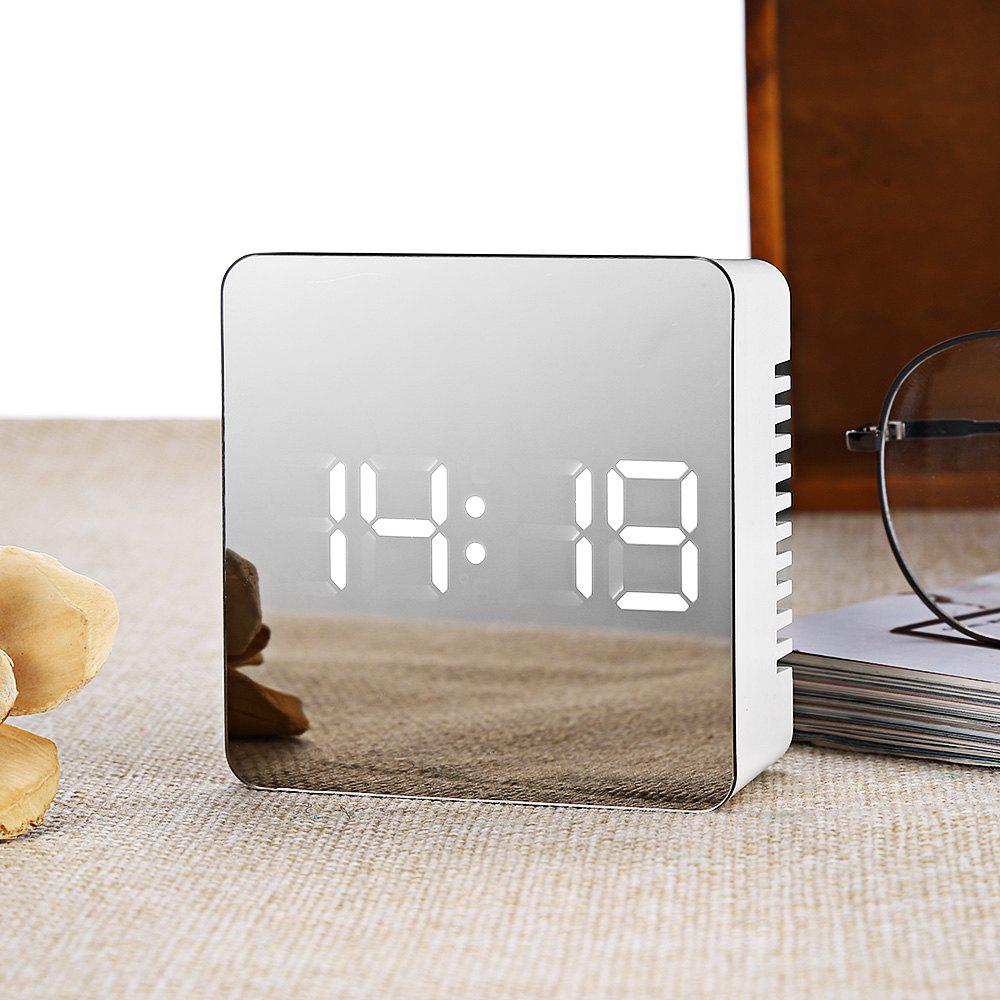 TS - S70 Multifunctional Noiseless LED Mirror Clock Display Time / Temperature - WHITE SQUARE