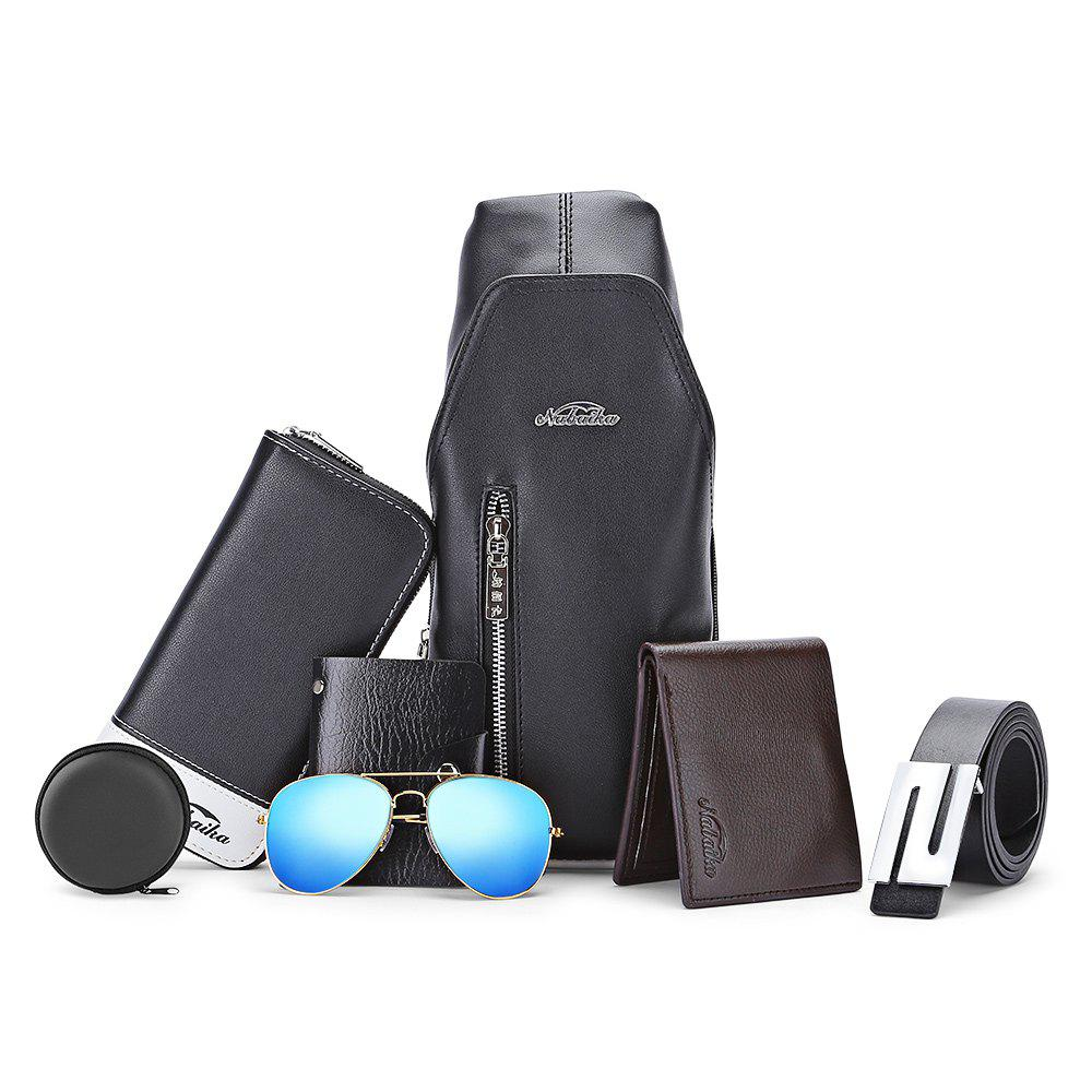 7pcs Men Chest Bag Wallet Card Holder Leather Belt Sunglasses - BLACK