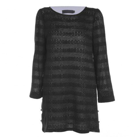 Trendy Round Collar Long Sleeve Layered Lace Crochet Women Dress - BLACK 2XL