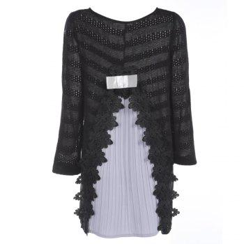 Trendy Round Collar Long Sleeve Layered Lace Crochet Women Dress - BLACK L