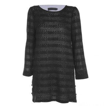 Trendy Round Collar Long Sleeve Layered Lace Crochet Women Dress - BLACK BLACK