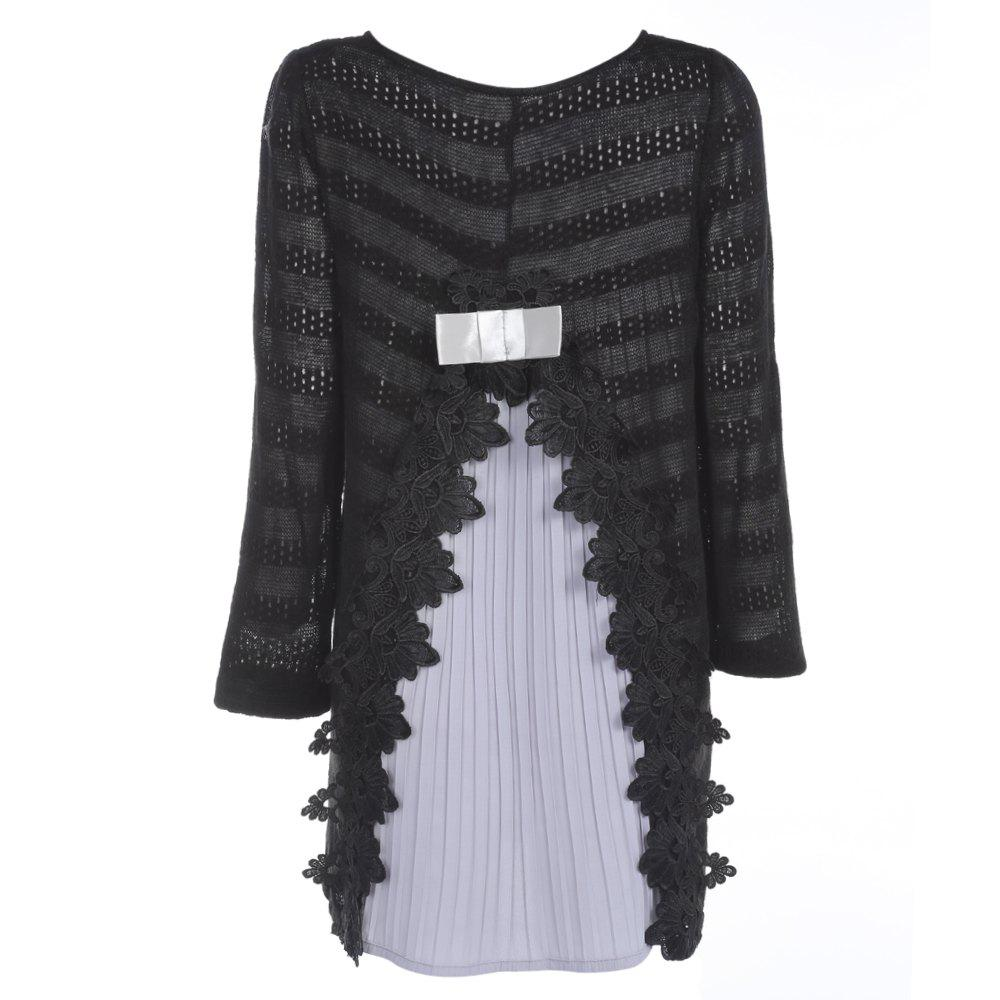 Trendy Round Collar Long Sleeve Layered Lace Crochet Women Dress - BLACK M