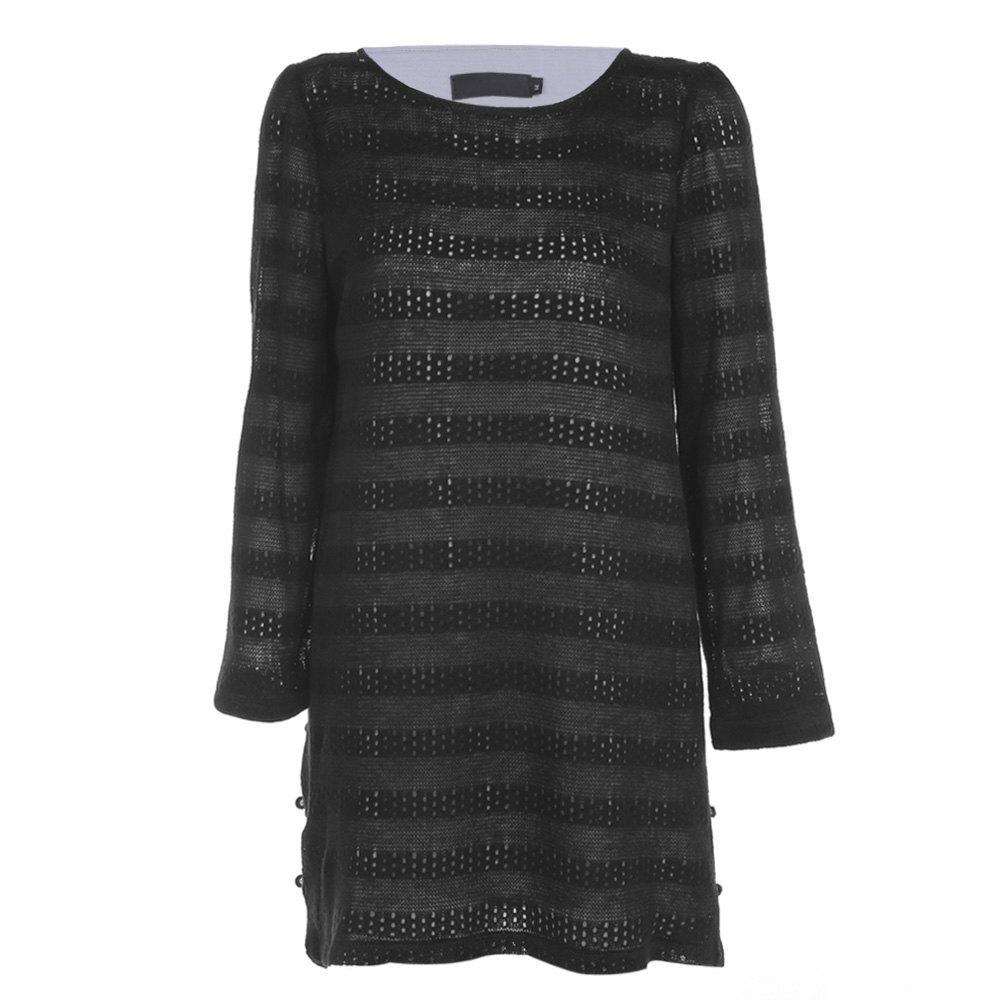 Trendy Round Collar Long Sleeve Layered Lace Crochet Women Dress - BLACK XL