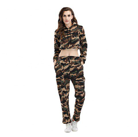Casual Hooded Long Sleeve Camouflage Crop Top with Pants Women Two-piece Sports Suit - ARMY GREEN CAMOUFLAGE L