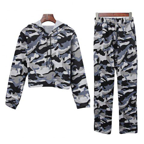 Casual Hooded Long Sleeve Camouflage Crop Top with Pants Women Two-piece Sports Suit - CAMOUFLAGE GRAY XL