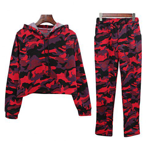 Casual Hooded Long Sleeve Camouflage Crop Top with Pants Women Two-piece Sports Suit - RED CAMOUFLAGE S