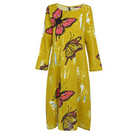 Trendy Round Collar Long Sleeve Butterfly Print Pocket Women Dress - YELLOW M