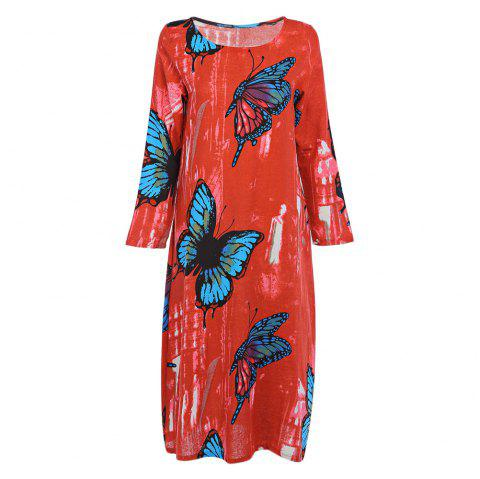 Trendy Round Collar Long Sleeve Butterfly Print Pocket Women Dress - ORANGE RED M