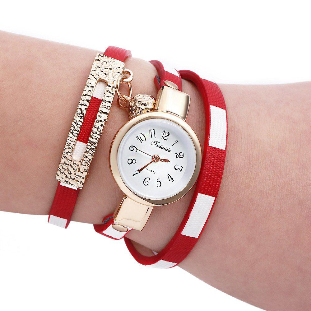 FULAIDA Women Quartz Watch Leather Band Bangle Fashion Wristwatch, Red