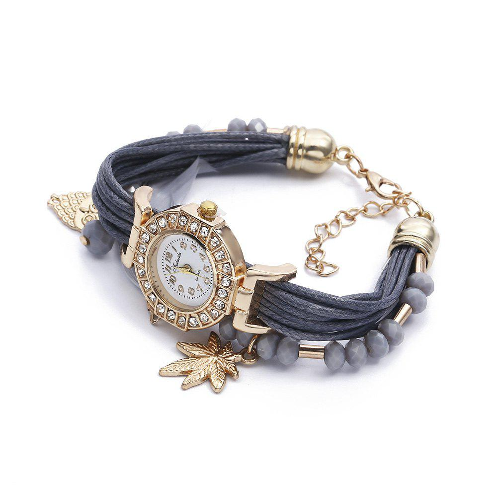 FULAIDA Women Quartz Watch Rhinestone Feather Decoration Bangle Wristwatch, Gray