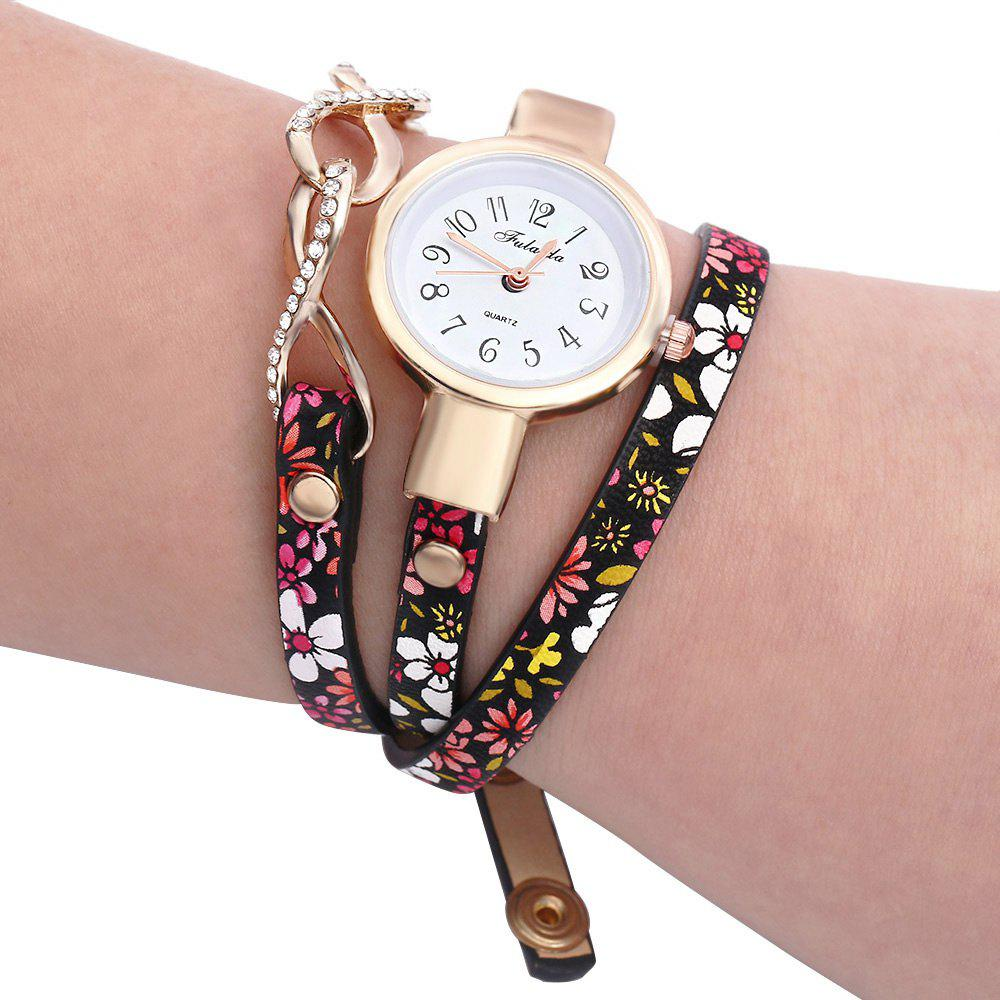 FULAIDA Chic Female Quartz Watch Rhinestone Leather Band Fashion Bangle Wristwatch, Black