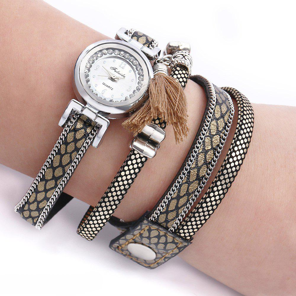 FULAIDA Women Quartz Watch Leather Band Rhinestone Tassel Decoration Wristwatch, Light coffee