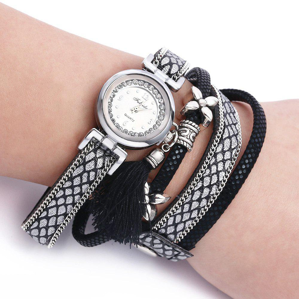 FULAIDA Women Quartz Watch Leather Band Rhinestone Tassel Decoration Wristwatch - BLACK