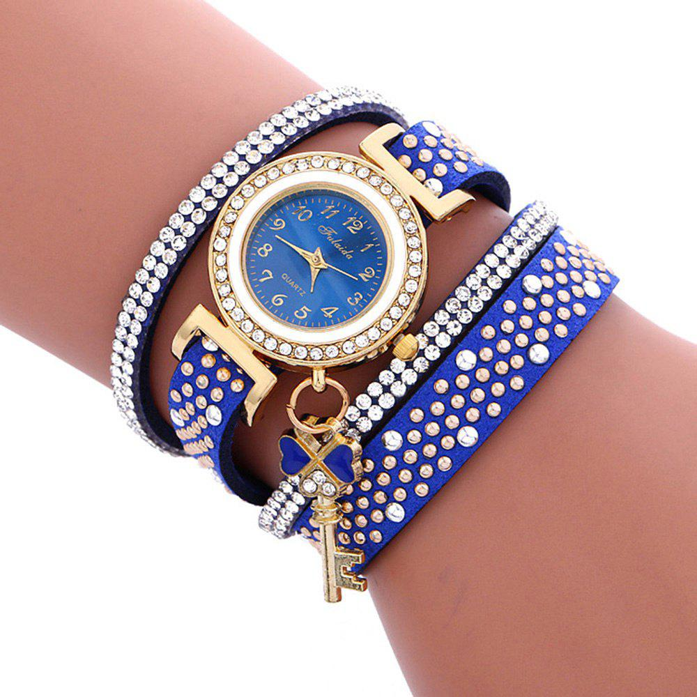 Fulaida Quartz Female Rhinestone Watch Leather Band Hand Decoration Wristwatch high quality minimalism elegant ladies quartz wristwatch hand made full wooden bamboo simplel small watchband wood watch female
