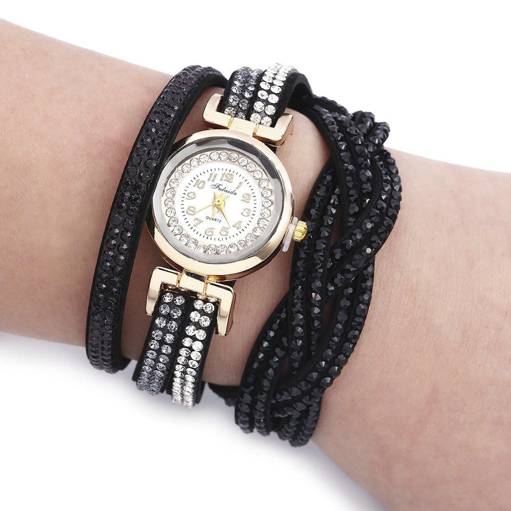 Fulaida Quartz Female Rhinestone Watch Fashion Bracelet Wristwatch Hand Decoration - BLACK