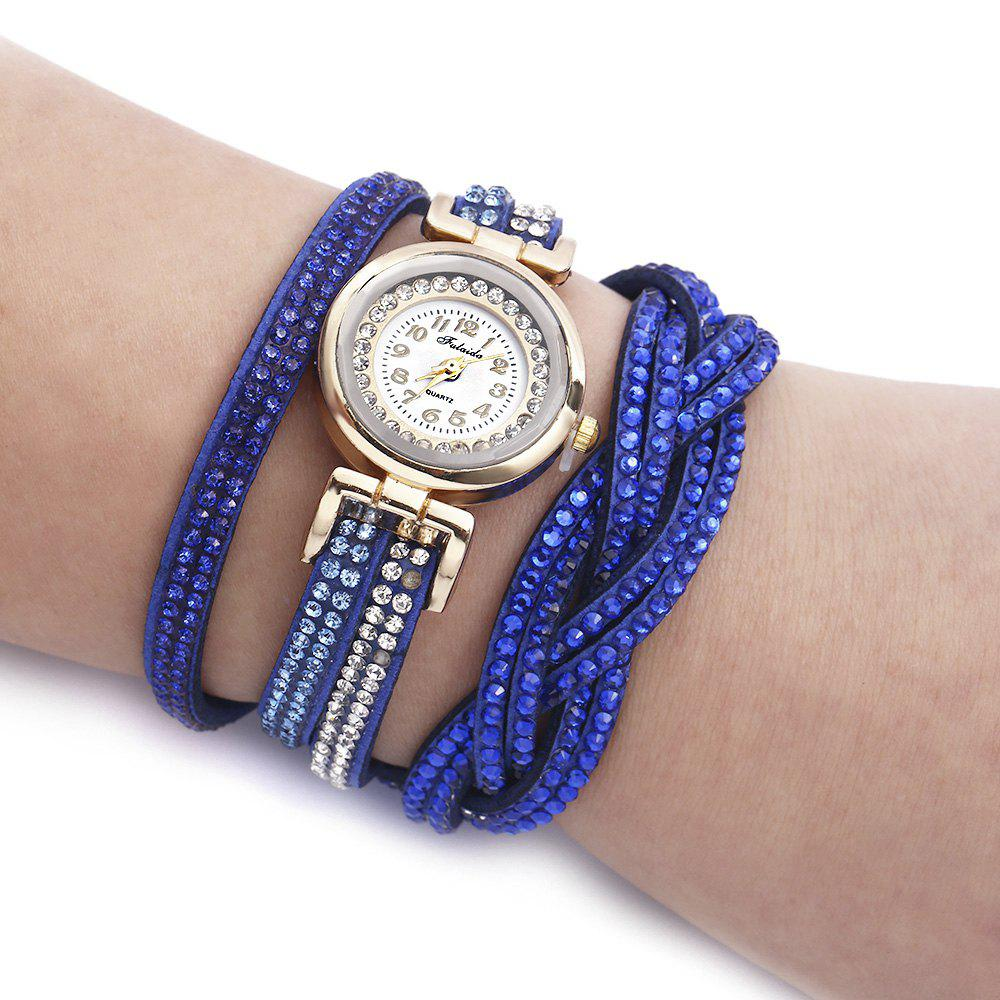 Fulaida Quartz Female Rhinestone Watch Fashion Bracelet Wristwatch Hand Decoration - SAPPHIRE BLUE