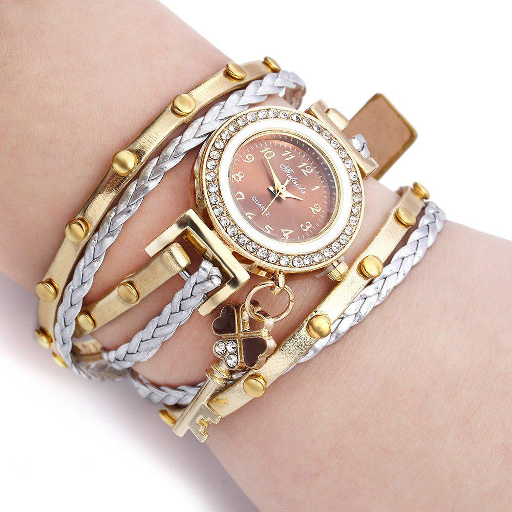 FULAIDA Women Quartz Watch Leather Band Rhinestone Bracelet Wristwatch - BROWN