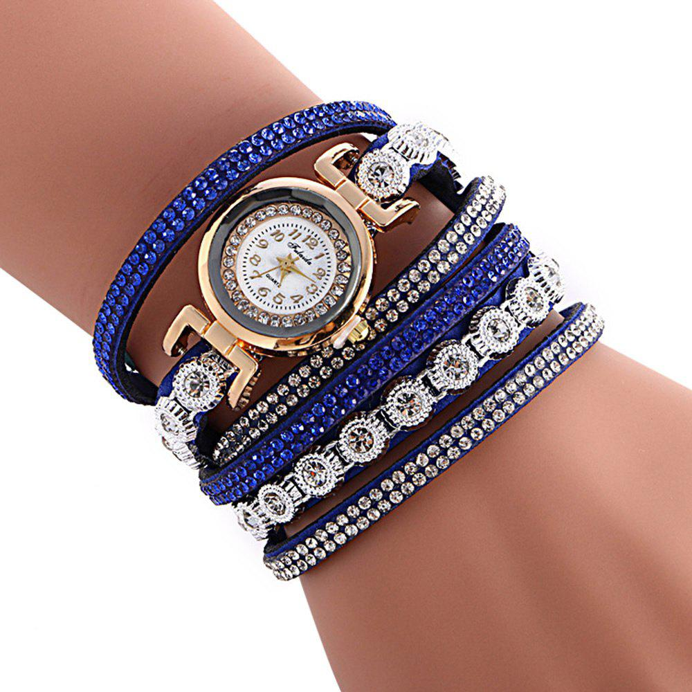 FULAIDA Female Quartz Watch Rhinestone Leather Band Fashion Bangle Wristwatch - SAPPHIRE BLUE