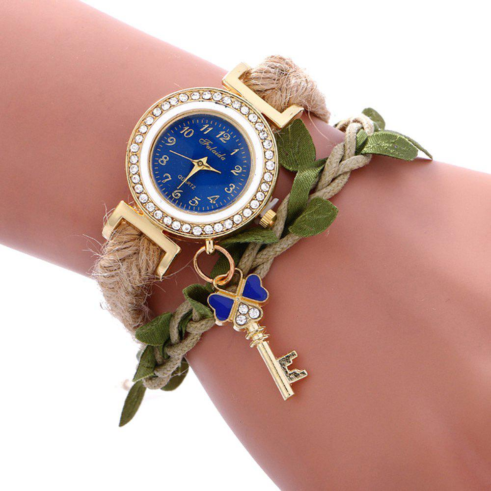 Fulaida Female Bohemia Type Rhinestone Dial Petal Pattern Watch Women Hand Decoration, Blue