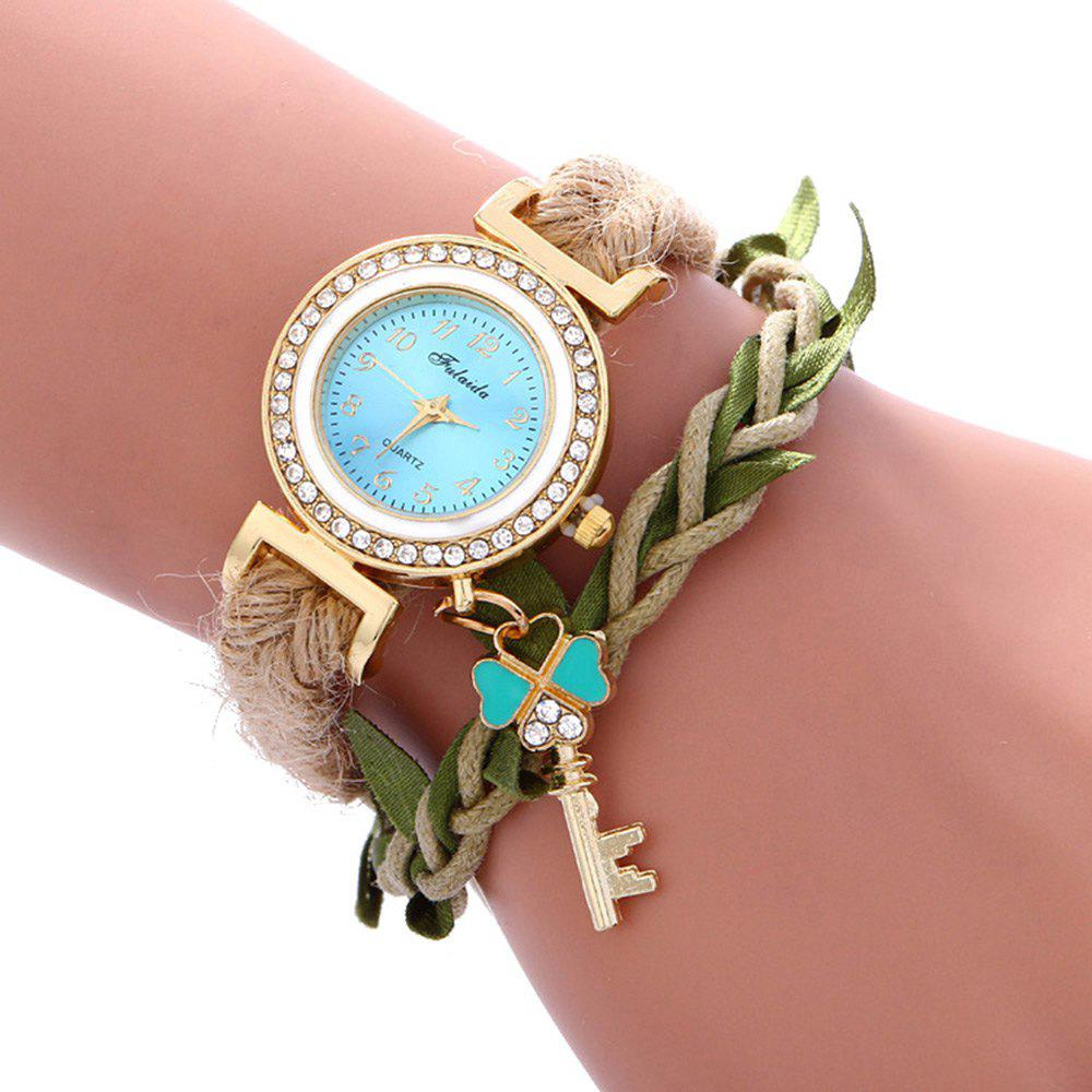 Fulaida Female Bohemia Type Rhinestone Dial Petal Pattern Watch Women Hand Decoration - LAKE BLUE